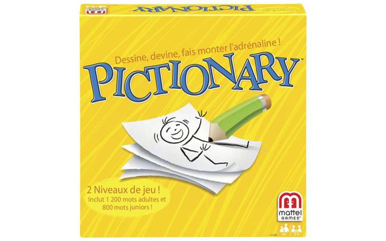 Pictionary é um Jogo de mímica e desenho, onde os participantes adivinham as palavras que saíram no cartão de jogo